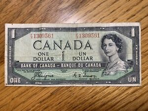 1954 Canada 1 Dollar Bank Note Coyne-Towers Devil's Face Hairdo P-66a
