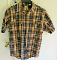 RED HEAD BRAND CO. Men's Medium Short-Sleeve Button-Up Brown Plaid Flannel Shirt