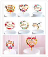 Happy Birthday Wedding Anniversary Cake Topper Party Supply Event Decoration