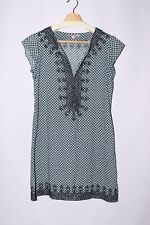 Calypso St. Barth Embroidered Tunic Dress Black Blue Print size S #A618