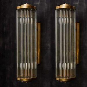 Pair Antique Vintage Old Art Deco Brass & Glass Rod Ship Light Wall Sconces Lamp