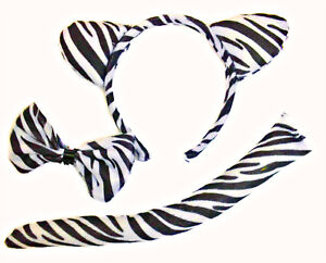 Zebra Ears, Tail and Bow Tie Set Headband Fancy Dress Costume Accessory