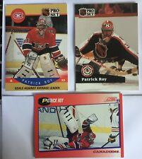 3 Old Patrick Roy Cards 1990-91 Pro Set #399, 2 1991-92 [Pro Set #304, Score #75