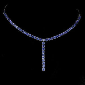 Necklace Blue Tanzanite Genuine Natural Gems Sterling Silver 16 1/2 to 17 3/4 In