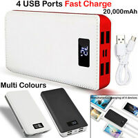 4 USB Power Port Bank Portable 20000mAh LCD LED External Backup Battery Charger.