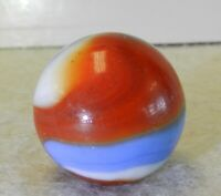 9545m Akro Agate Red White and Blue Akro Agate Corkscrew Shooter Vintage Marble