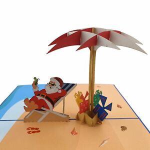 Santa On The Beach Pop Up Card