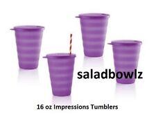 TUPPERWARE IMPRESSIONS 16 OZ DRIPLESS TUMBLERS w/Seals 4 in Purplicious Purple!