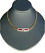 14K Yellow White Gold Diamond Ruby Choker Chain Necklace Collar Vintage Mid-Cent