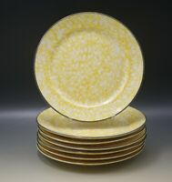 STANGL POTTERY TOWN AND COUNTRY YELLOW SPATTER SET OF 7 SALAD PLATES