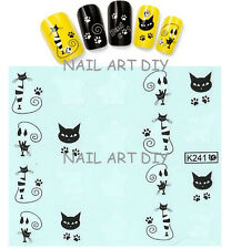 20 nail stickers water transfer-BAD CAT-tattoo adesivo-GATTI neri e bianchi !!
