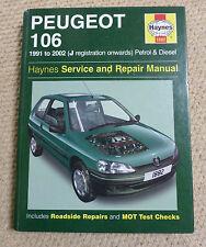 PEUGEOT 106 HAYNES MANUAL 1991 to 2002 J REGISTRATION ONWARDS PETROL & DIESEL