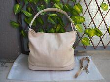 Bag / Sac seau Le Tanneur en cuir imitation croco beige, modèle insolente Grand