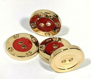 Lot of 4 St Johns Decorative Enamel & Metal Red / Gold Buttons - Two Hole Sew On