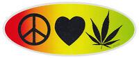 Bumper Sticker Decal - Peace, Love, Marijuana - Pot, 420, Bob Marley One Love