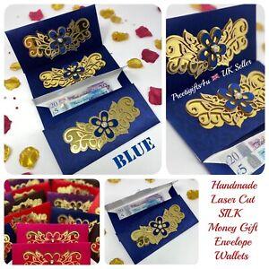 2 * Blue Royal Vintage Laser Cut Wedding Invite Salami Money Gift Envelope
