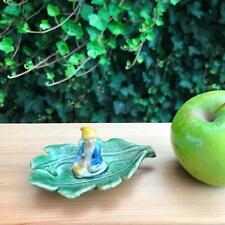 "4"" Vintage Shamrock Pottery 1.5"" Leprechaun Elf in Dish with Yellow Cap Ireland"