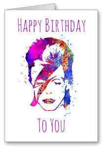 David Bowie Starman Happy Birthday Card Watercolour Effect  2