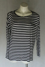 🔥 SIZE 12 TARGET COLLECTION BLACK WHITE STRIPED VISCOSE LONG SLEEVE T-SHIRT