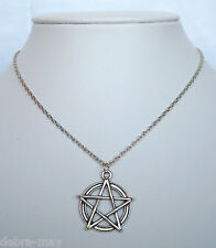 "Pentagram Star Pendant 18"" Chain Necklace - Wiccan Pagan Gothic Pentacle"