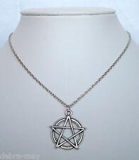 "Pentagram star CIONDOLO 18 ""collana catena-Wiccan pagane Gotico Pentacle"