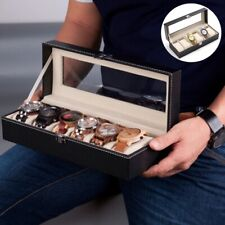 Wrist Display Case Organizer Jewelry Storage Usa 6 Slot Men Watch Box Leather