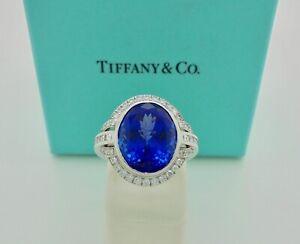 Authentic Tiffany & Co. Buckle 9.90ct Tanzanite Diamond Platinum Ring $68,750