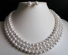 """3 Rows AAA 8mm white south sea shell pearl necklace Earrings 17-19"""" LL006"""