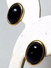 Vintage Trifari Pierced Earrings Black with Gold Trim