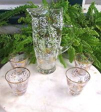 Mid Century Vtg. Sponged Enamel Glass Martini Pitcher And 4 Glasses
