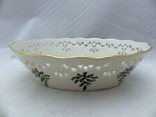 New ListingLenox Holiday (holly & berries) - articulated, pierced Oval Bowl - shiny, Euc