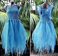 Fairy Dress Party Costume with Wings – WOMEN'S ONE SIZE - Light Blue/Aqua
