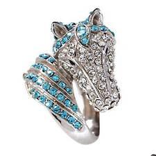 "Park Lane ""HOT TO TROT"" Horse Ring w/ Swarovski Crystals - Orig. $164 - Sz 9"