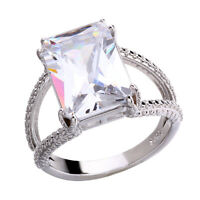 Women White Sapphire Birthstone 925 Silver Ring Size 6-10 Wedding Engagement