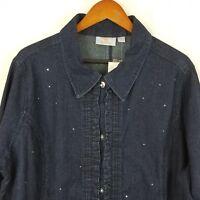 Quacker Factory Blue  Sparkle Shine Jean Denim Shirt Light Jacket Size 1X
