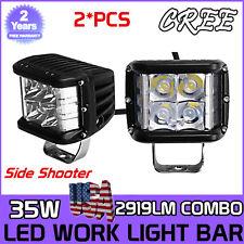 2X 4INCH 35W Work Cube Side Shooter LED Light Bar Spot Flood Driving Fog Pod HOT