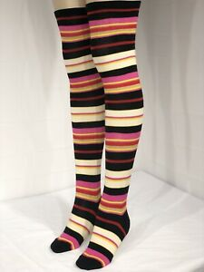 Tahari Women's Pink Above The Knee Fancy Design Socks 9-11 Striped Rainbow NWT