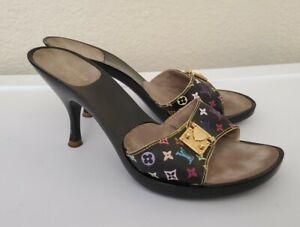 "Multi Color Murakami Louis Vuitton Logo Kitten Heel Sandal Mule  3.5"" heel"