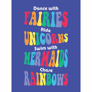Fairies Unicorns Mermaids Rainbows Large Canvas Wall Art Print