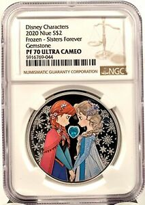 2020 Niue Disney Princess Frozen Anna & Elsa 1 oz Silver Coin - NGC PF 70 UCAM