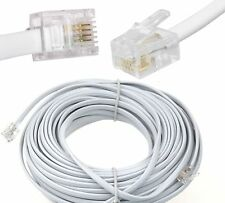25m Meter RJ11 To RJ11 Cable 4Pin ADSL BT Phone Router Internet Modem Lead WHITE