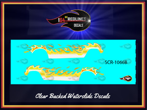 """1/64 '55 Chevy """"Yellow Flaming"""" Gasser Decal Set SCR-1066B"""
