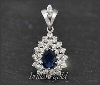 Diamant und blauer Saphir Anhänger, 2ct total, 1ct Brillanten, aus 585 Gold
