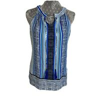 Rose & Olive Top Size XS Career Womens Blue Work Sleeveless Casual Tassels