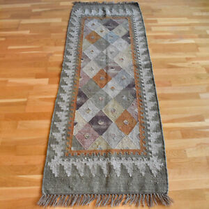 Turkish Kilim Hand-knotted Vintage Traditional Oriental Wool Runner 205 X 70cm