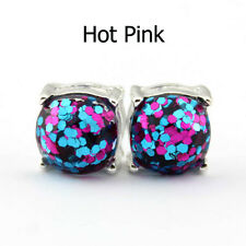 Silver Tone Boxed Square Glitter Stud Earrings for Fashion Women Jewelry