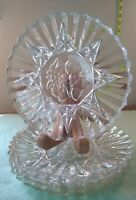 5 Luncheon Plates, Federal Glass, Pioneer Pattern, Fruit Center Design, Clear