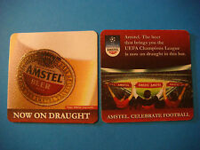 Cool Beer Coaster ~<>~ AMSTEL Draught, Celebrate Football, UEFA Soccer Champions