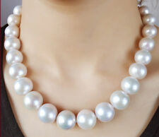 "AAA 18"" 12-15mm Real Natural South Sea White Round Edison pearl necklace 14K"