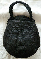 Vintage Persian Lamb Fur Muff Purse Bag Hand Warmer Braided Handles Zipper Close